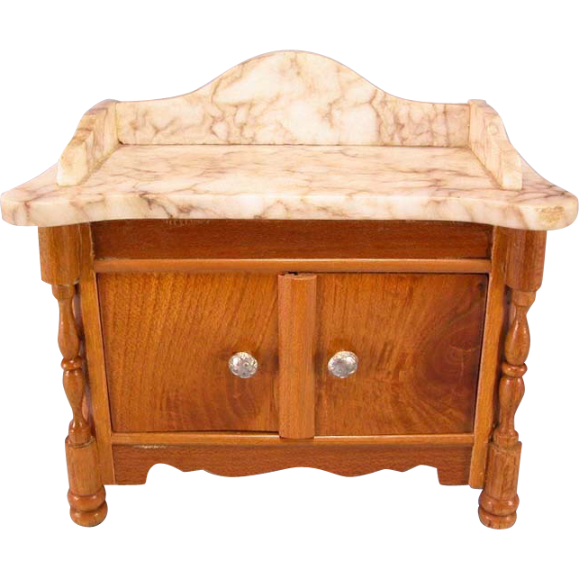 "Antique German Dollhouse Schneegas Marble Top Washstand Late Victorian Large 1"" Scale"