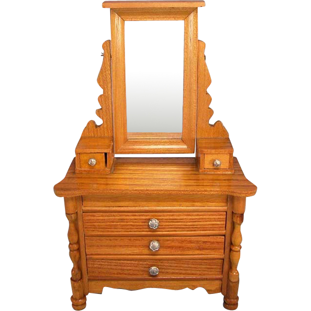 "Antique German Schneegas Dollhouse Dresser with Swivel Mirror Late Victorian Large 1"" Scale"