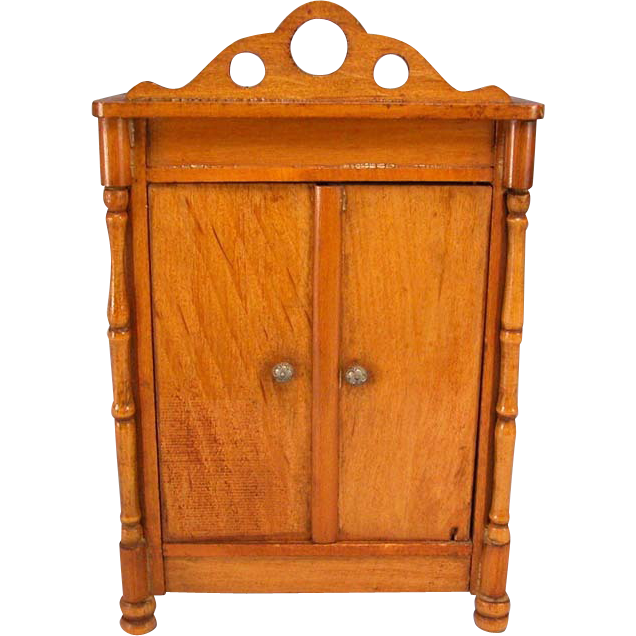 "Antique German Dollhouse Schneegas Wardrobe Late Victorian Medium to Large 1"" Scale"