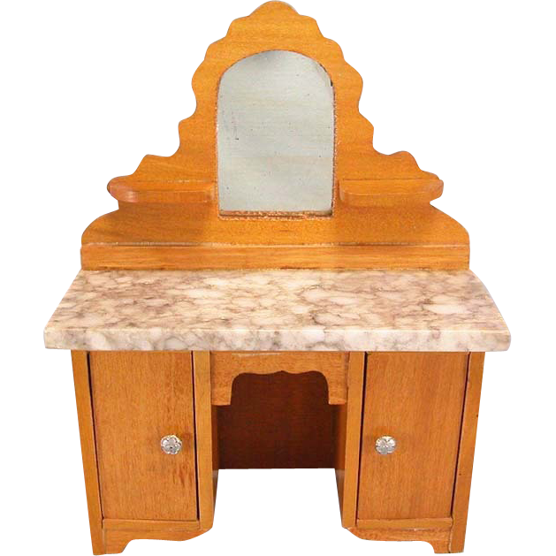 "Antique German Dollhouse Schneegas Marble Top Vanity Late Victorian 1"" Scale"