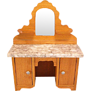 """Antique German Dollhouse Schneegas Marble Top Vanity Late Victorian 1"""" Scale - Red Tag Sale Item"""