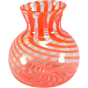 "Antique Dollhouse Red Swirl Venetian Glass Vase Early 1900s 1"" Scale"