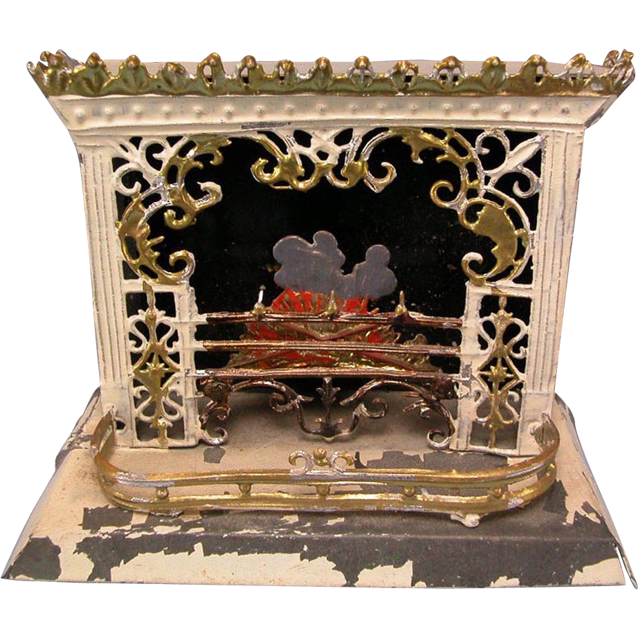 "German Dollhouse Tin and Soft Metal Fireplace 1920s Small 1"" Scale"