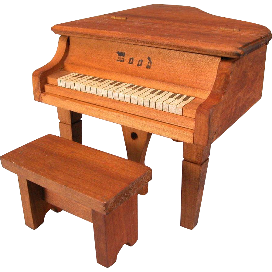 "Dollhouse Miniature 'Wood' Piano with Bench 1920s - 1930s 1"" Scale"