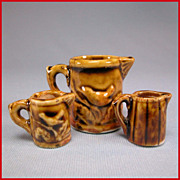 "Three Antique Miniature Bennington or Rockingham Brown Glazed Porcelain Pitchers Late Victorian Large 1"" Scale"