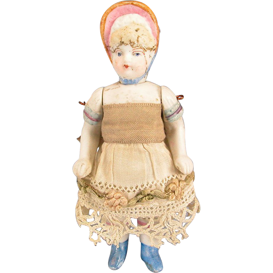 "4 1/4"" Antique German All Bisque Bonnet Dollhouse Doll 1880s – 1900s Large 1"" Scale"