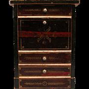 """Antique Dollhouse Biedermeier Boulle Drop Front Desk / Secretary Mid 1800s Small 1"""" Scale"""