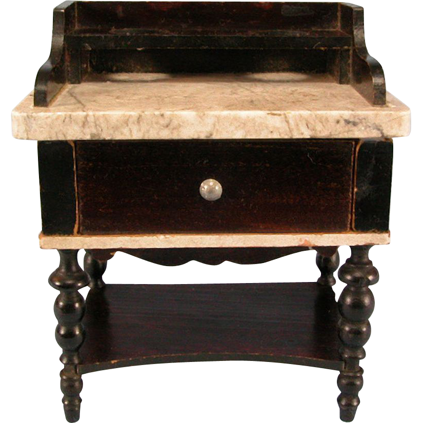 "Antique Dollhouse Biedermeier Boulle Washstand with Stone Top Mid 1800s Large 1"" Scale"