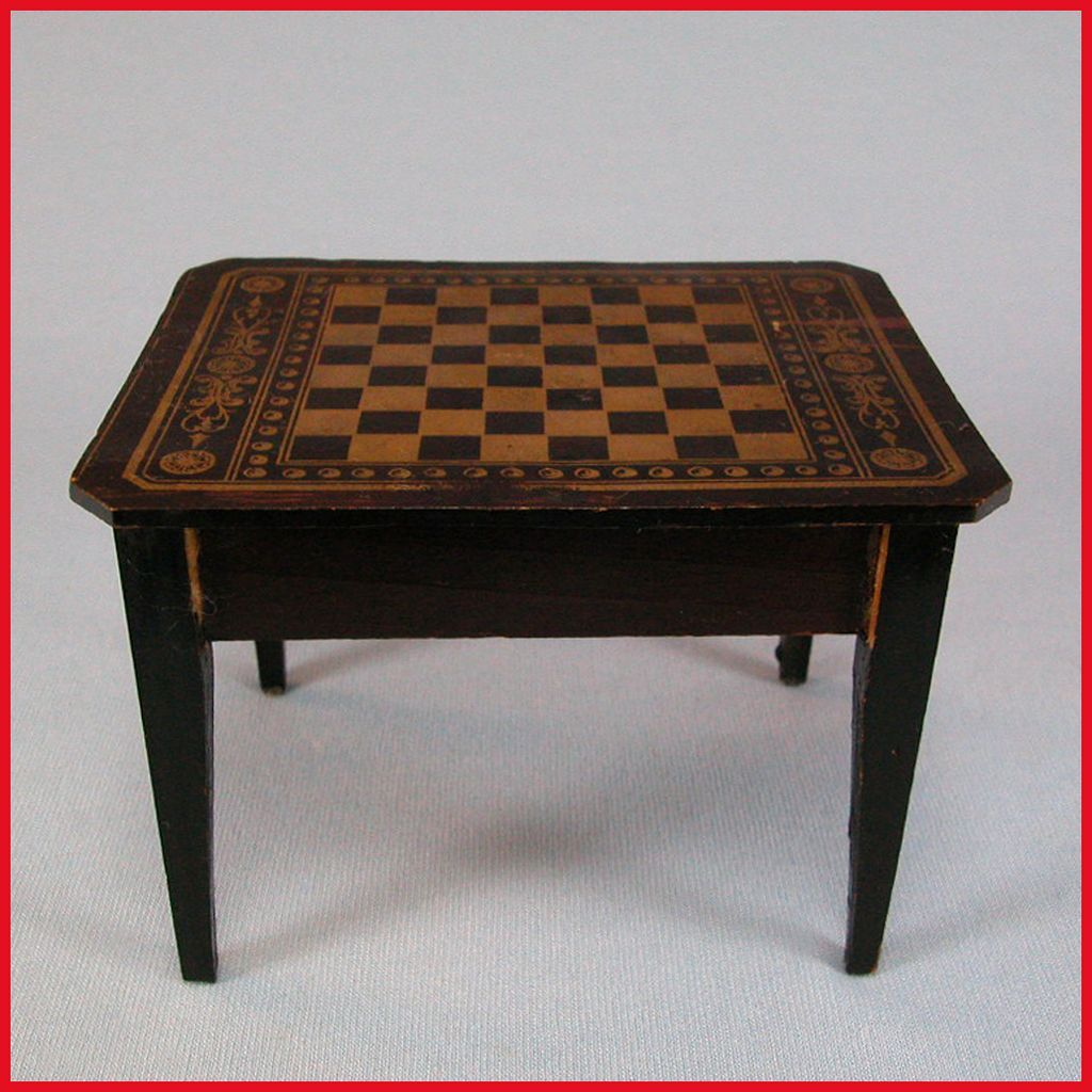 Antique Dollhouse Biedermeier Boulle Chess Table Mid to Late 1800s