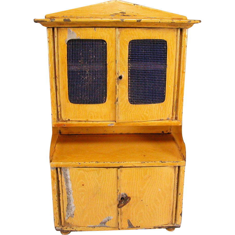 "Antique Bing Dollhouse Kitchen Hutch with Faux Grain Painted Sheet Metal Early 1900s Large 1"" Scale"