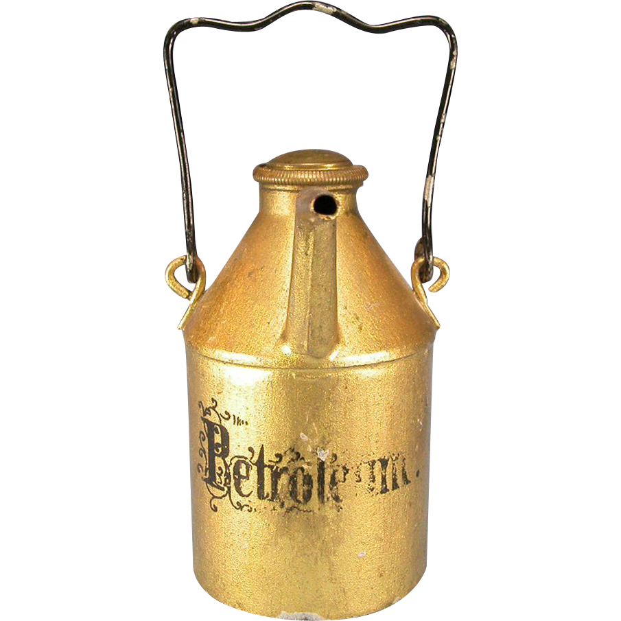 "Antique German Dollhouse Gilt Sheet Metal Oil Can by Marklin 1880s – 1900s Large 1"" Scale"