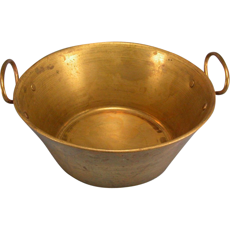 "Antique German Dollhouse Brass Bowl with Handles 1880s – 1900s Large 1"" Scale"