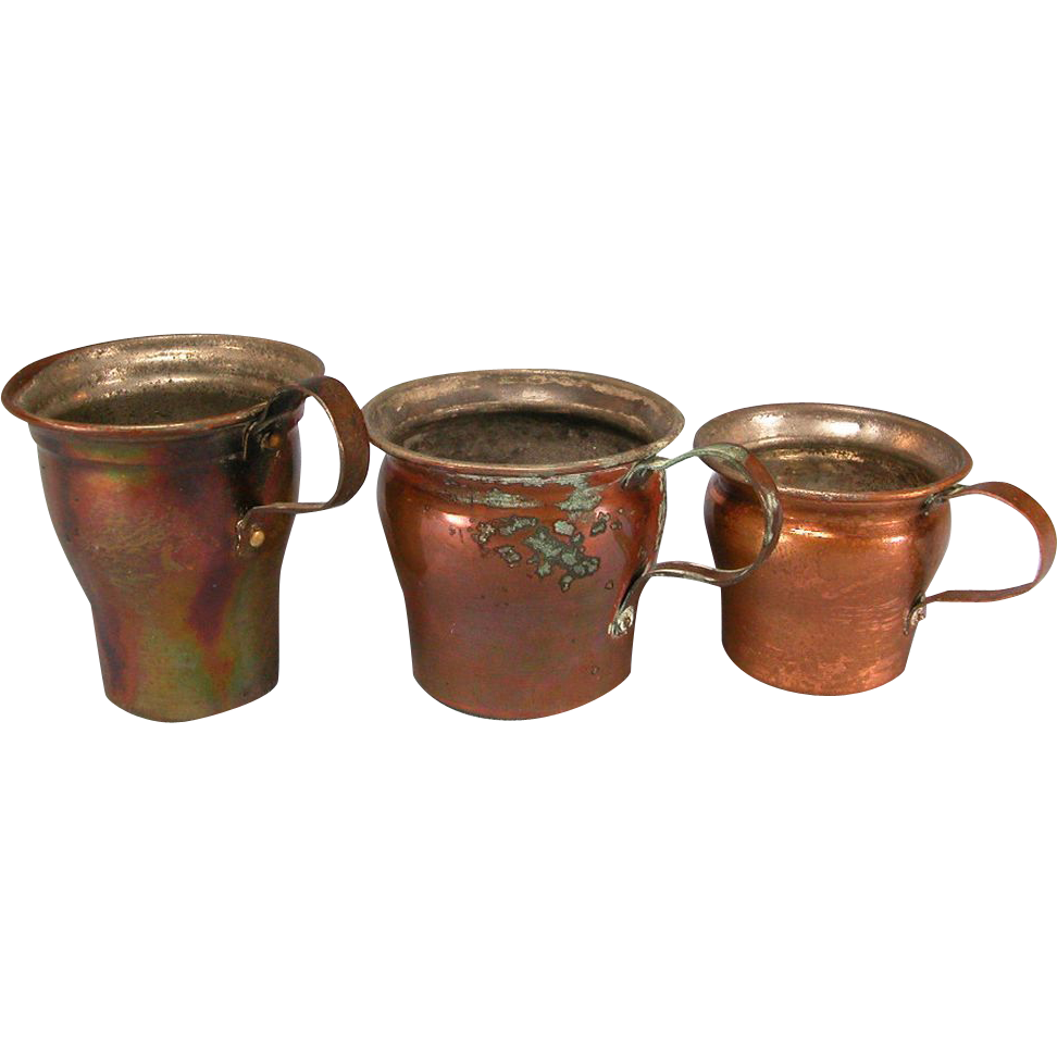 Antique German Set of 3 Graduated Copper Cups 1880s – 1900s Doll Size