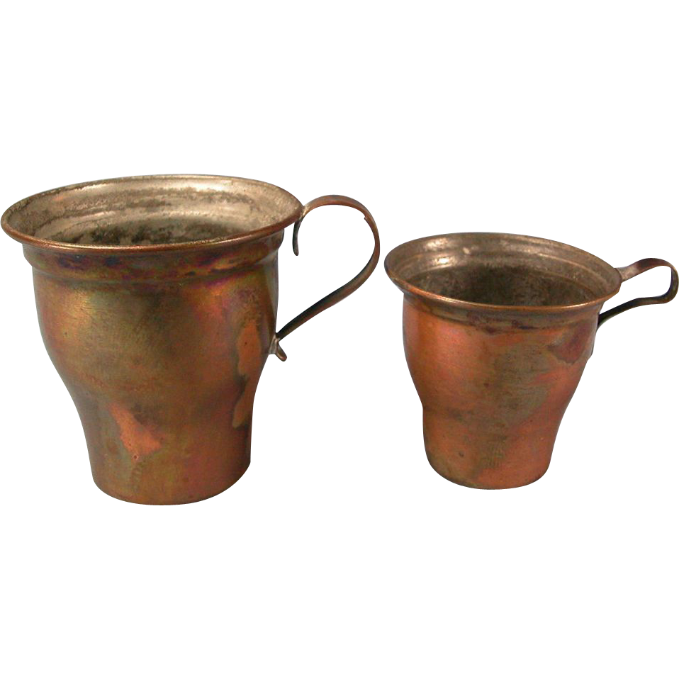 Set of 2 Antique German Copper Cups 1880s – 1900s Doll Size