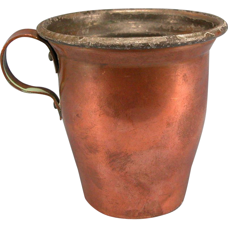 Antique German Copper Cup with Handle 1880s – 1900s Doll Size