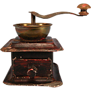 Antique German Coffee Grinder with Working Mechanism – Faux Grain Finish 1880s – 1900s Doll Size