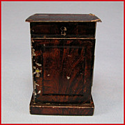 "Antique Rock and Graner German Dollhouse Tin Nightstand with Faux Wood Graining 1860s – 1880s 1"" Scale"