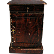 """Antique Rock and Graner German Dollhouse Tin Nightstand with Faux Wood Graining 1860s – 1880s 1"""" Scale"""