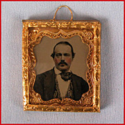"Antique Dollhouse Miniature Ambrotype Portrait in Brass Frame Mid 1800s Small 1"" Scale"