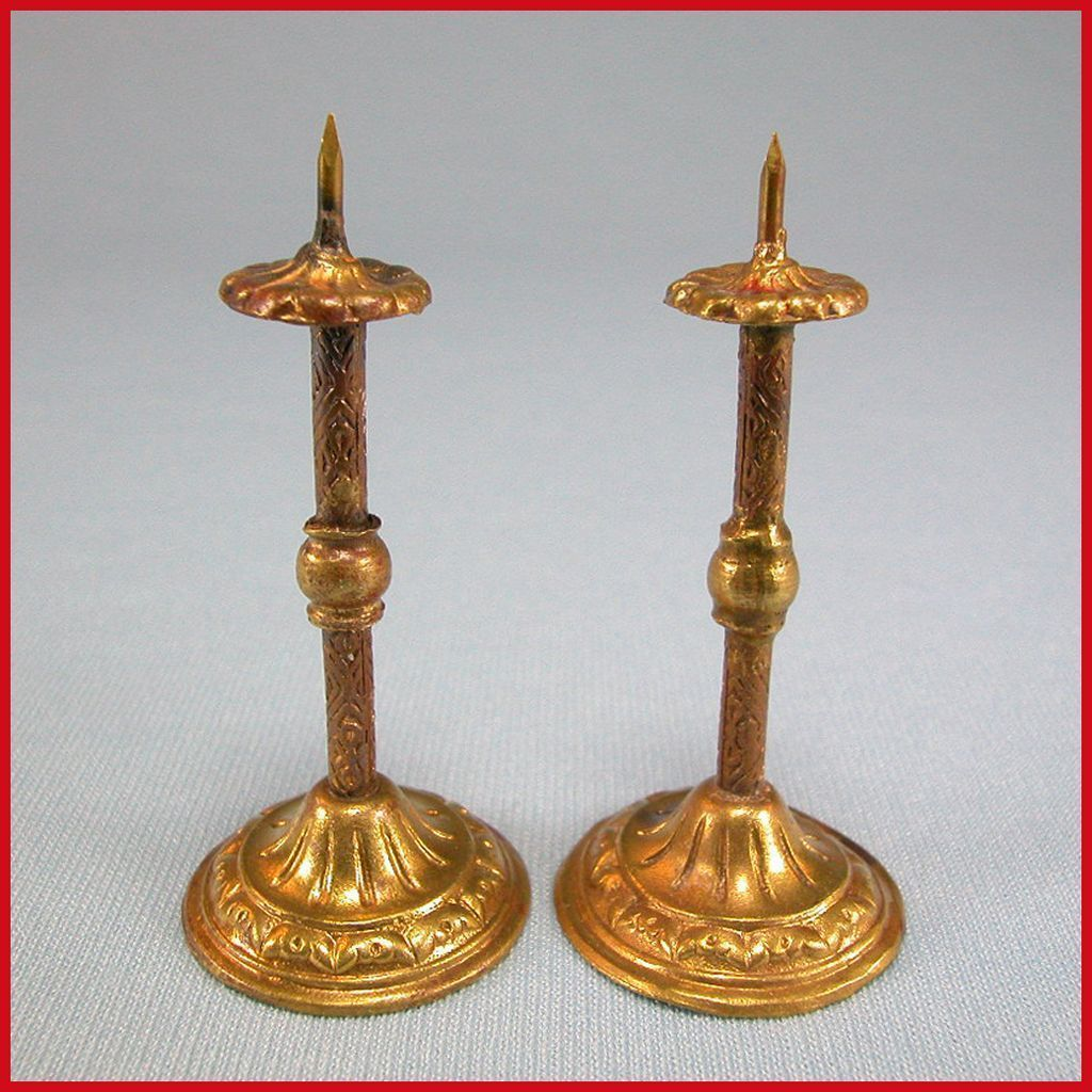 "Pair of Tall Antique German Dollhouse Ormolu Candleholders by Erhard & Son Late 1800s 1"" Scale"