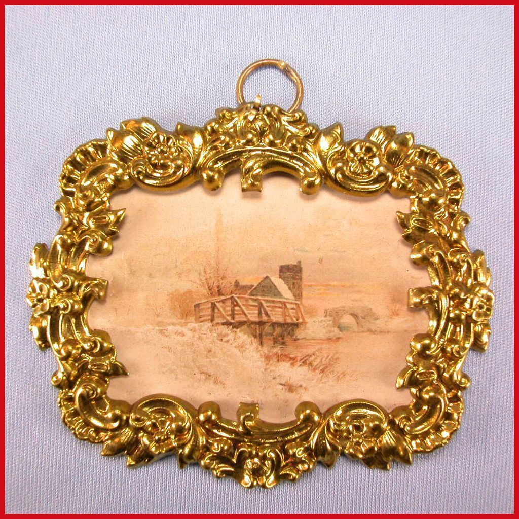"Antique German Dollhouse Ormolu Picture Frame with Lithograph Print of a European Country Scene by Erhard & Son Late 1800s 1"" Scale"