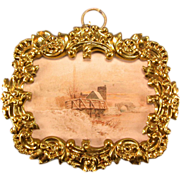 """Antique German Dollhouse Ormolu Picture Frame with Lithograph Print of a European Country Scene by Erhard & Son Late 1800s 1"""" Scale"""