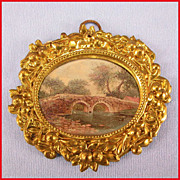 "Antique German Dollhouse Oval Ormolu Picture Frame with Stone Bridge by Erhard & Son Late 1800s 1"" Scale"