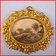 "Antique Dollhouse German Oval Ormolu Picture Frame with Stone Bridge by Erhard & Son Late 1800s 1"" Scale"