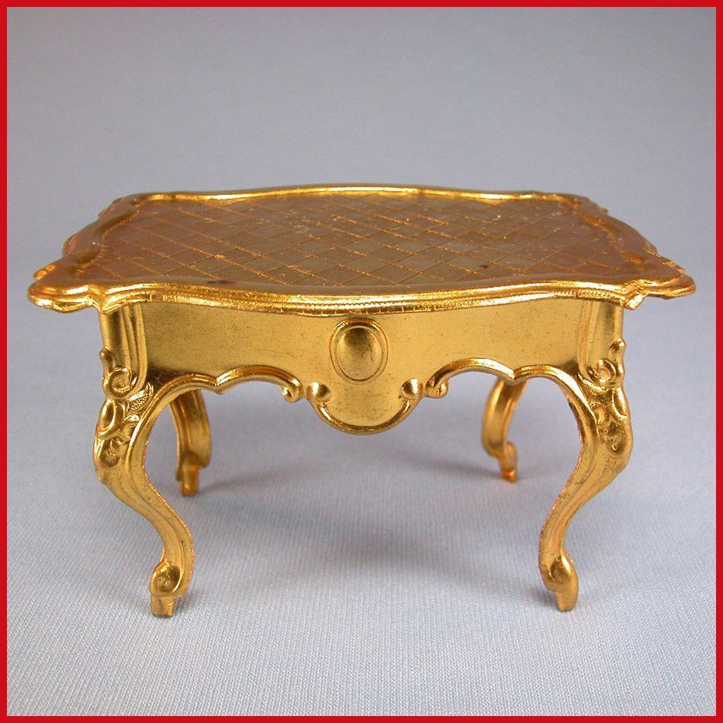 "Antique German Dollhouse Ormolu Table with Serpentine Top by Erhard & Son Late 1800s Small 1"" Scale"