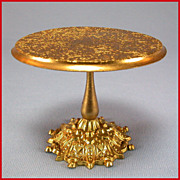 "Antique German Dollhouse Ormolu Round Pedestal Table by Erhard and Son Late 1800s Small 1"" Scale"