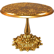 "Antique German Dollhouse Ormolu Round Pedestal Table by Erhard and Son Late 1800s Small 1"" Scale - Red Tag Sale Item"