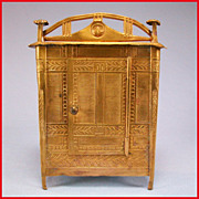 "Rare Neo Classical Antique German Dollhouse Ormolu Wardrobe by Erhard and Son Late 1800s Small 1"" Scale"