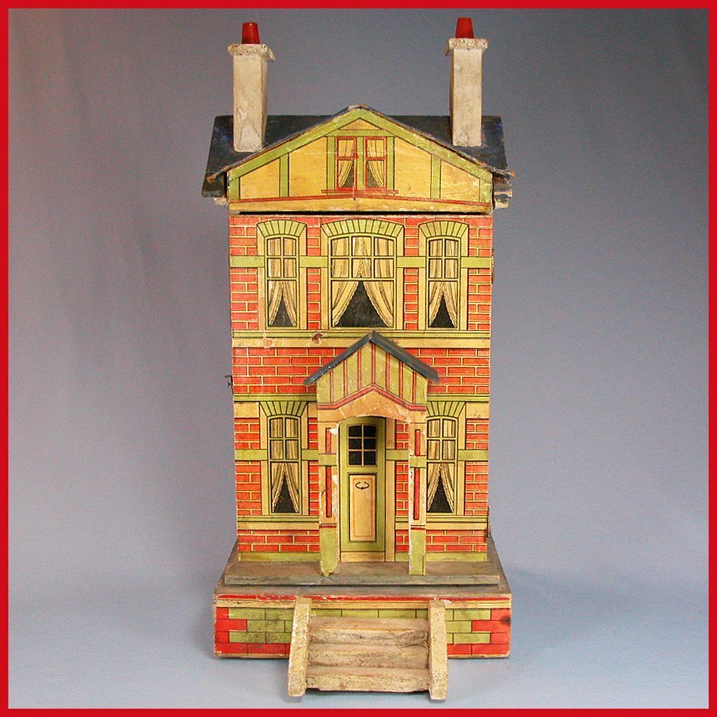 "Gottschalk Blue Roof Dollhouse with Two Stories 1910s 1/2"" Scale"