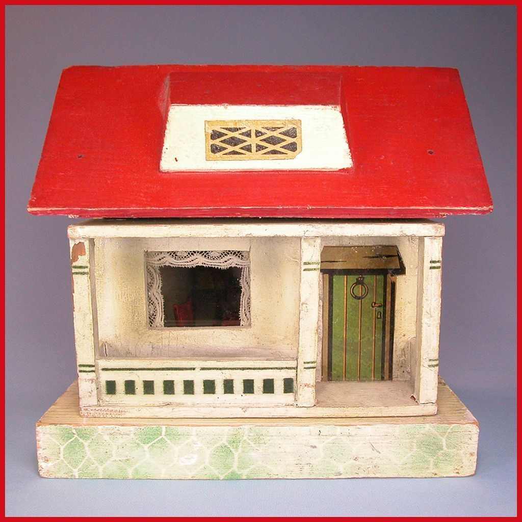 "German Wooden Red Roof Dollhouse 1920s 1/2"" Scale"