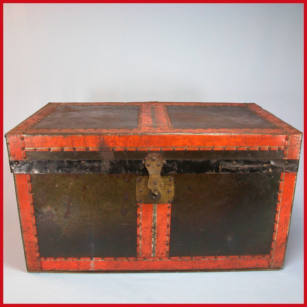 Antique Black Tin and Wood Doll Trunk with Original Tray