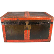 Antique Black Tin & Wood Doll Trunk with Original Tray