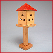 "German Miniature Apartment Birdhouse on Stand 1920s – 30s Large 1"" Scale"
