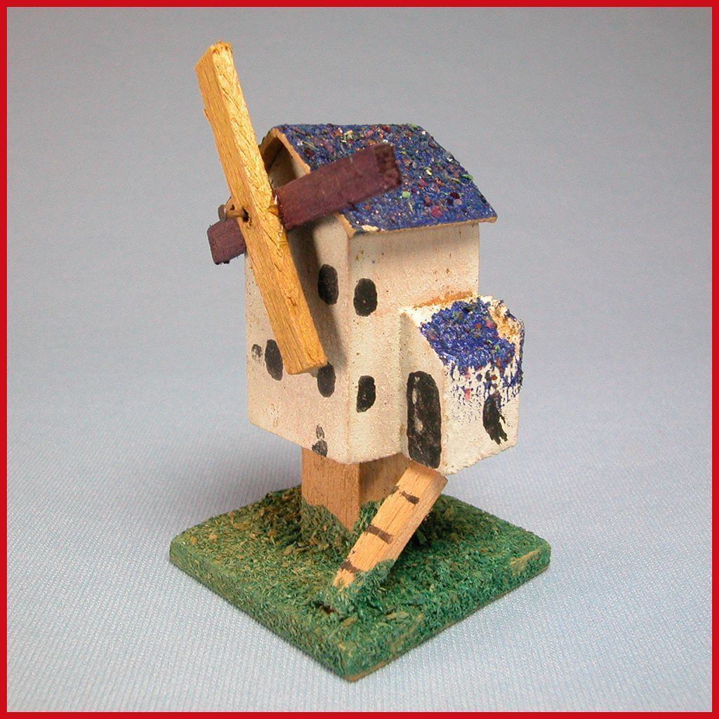 "Erzgebirge German Miniature Wooden Toy Windmill with Blue Roof Early 1900s Large 1"" Scale"