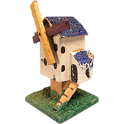"Erzgebirge German Miniature Wooden Toy Windmill with Blue Roof Early 1900s Large 1"" Scale - Red Tag Sale Item"