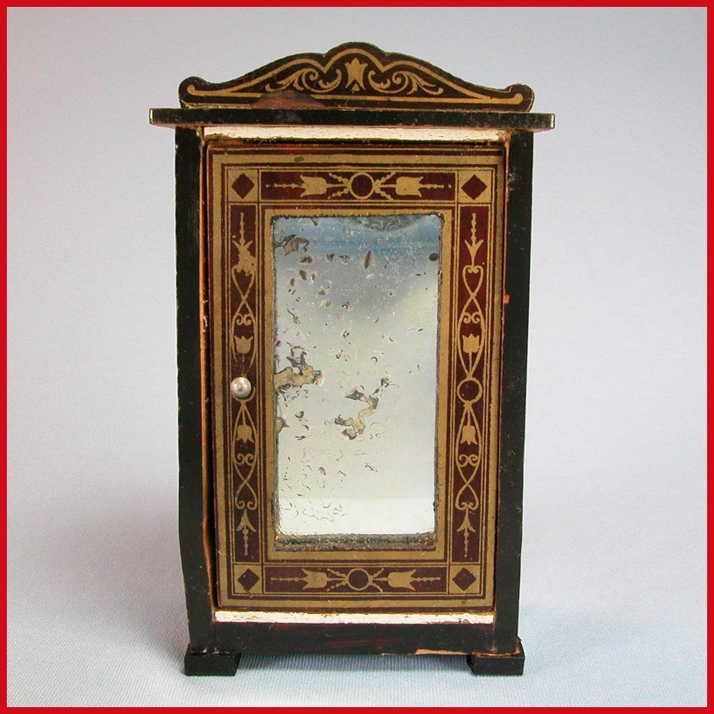 "Antique German Dollhouse Biedermeier Boulle Armoire 1880s – 1890s Small 1"" Scale"