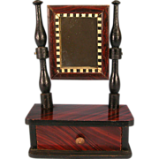Antique German Dollhouse Kestner Faux Grained Shaving Stand with Swivel Mirror 1850s Doll Size - Red Tag Sale Item
