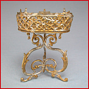 "Antique German Dollhouse Gilt Soft Metal Plant Stand 1880s – 1890s 1"" Scale"