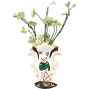 "French Porcelain Cottage Figural Vase with Flowers 1880s – 1890s Large 1"" Scale"