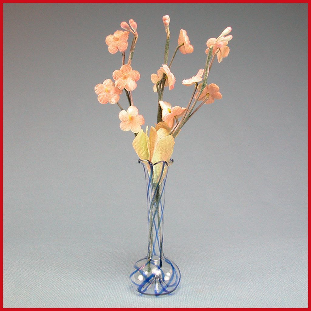 """Antique Dollhouse Tall Blue Swirl Venetian Glass Vase with Flowers Early 1900s 1"""" Scale"""