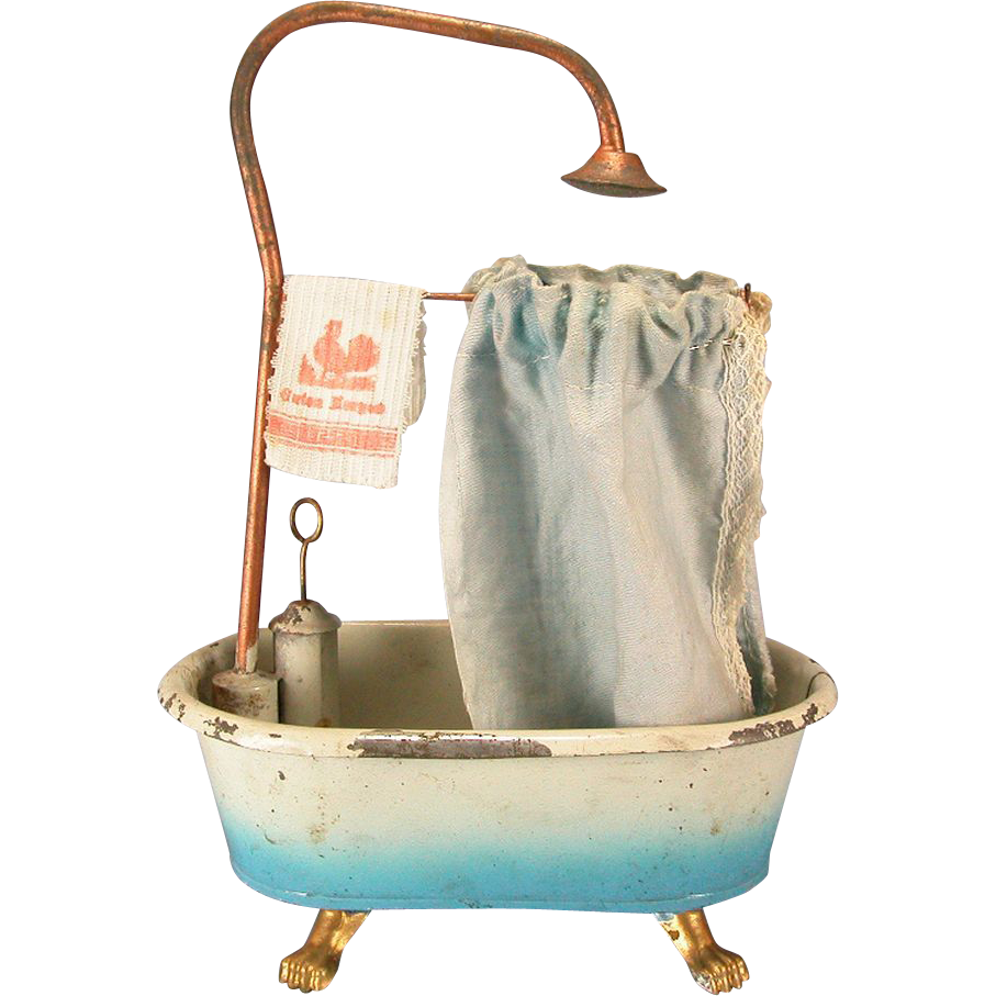 German dollhouse painted tin clawfoot tub with shower surround hand from rubylane sold on ruby lane - Painted clawfoot tub exterior pict ...