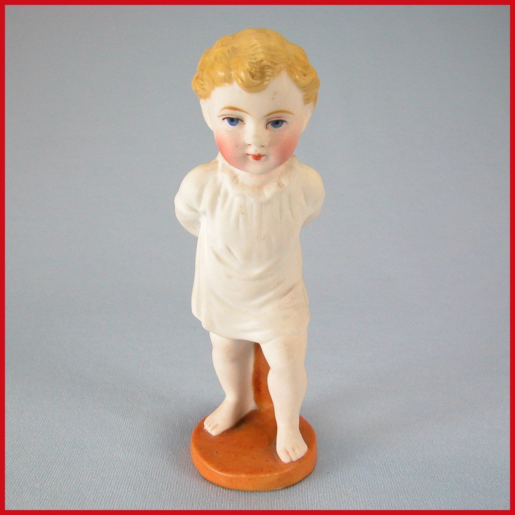 "4 1/4"" All Bisque Character Doll Piano Baby on Stand"