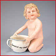 "4 3/4"" Kneeling All Bisque Character Bathing Doll Piano Baby with 'Scratch My Back' Mug"