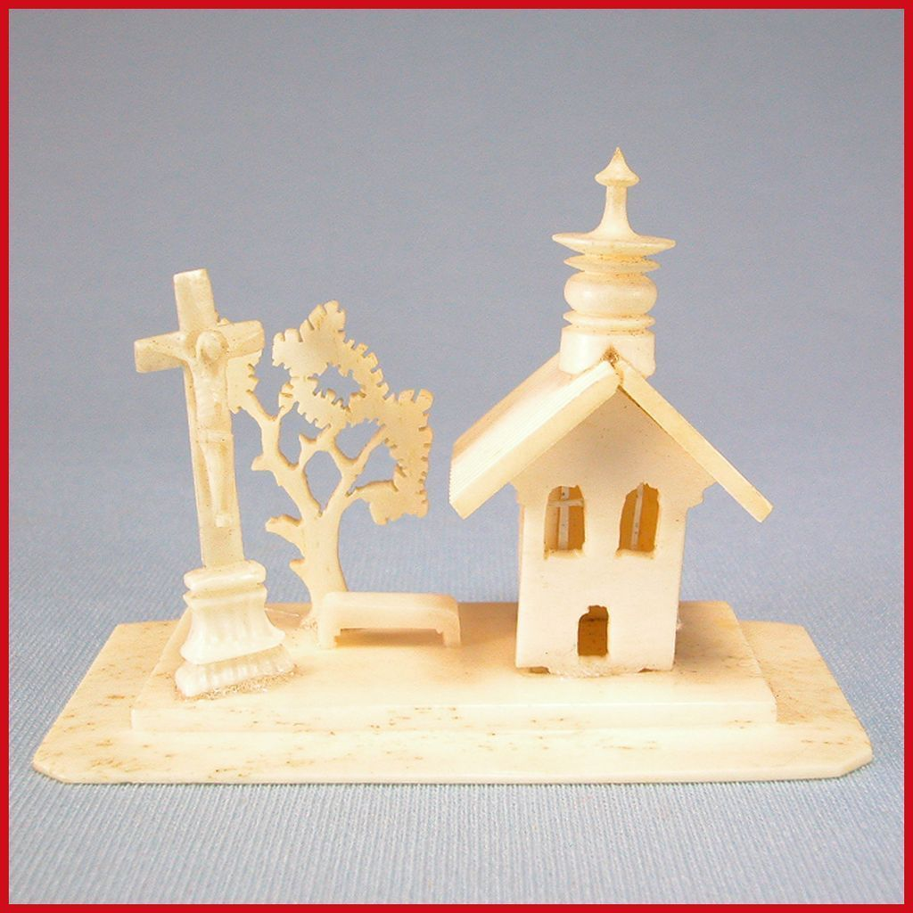 """Hand Carved & Fret-Cut German Bone Church Scene from the Rothenburg Toy Museum 1860s – 1870s Large 1"""" Scale"""