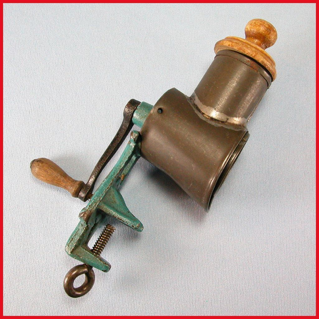 Antique German Miniature Blue Enamel Cast Metal & Tin Meat Grinder for the Doll Kitchen Early 1900s
