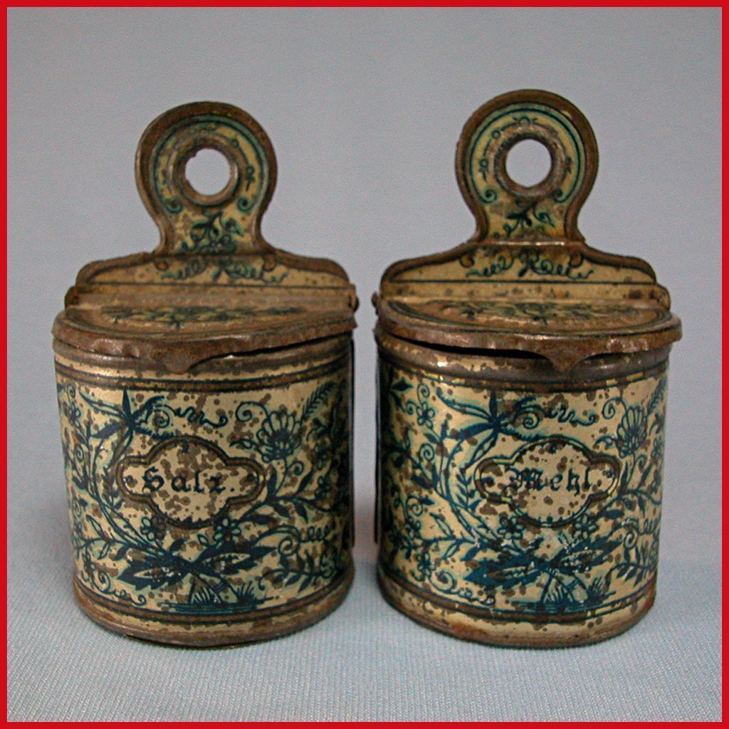 Set of 2 Antique German Miniature Bing Salt & Flour Wall Canisters for the Doll Kitchen Early 1900s